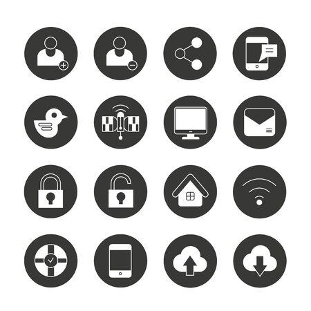computer keys: social media icons