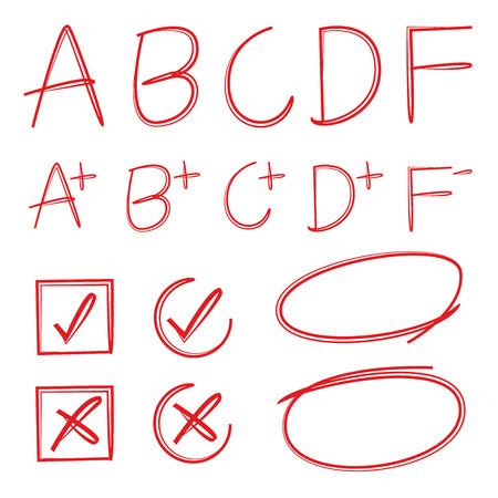 grade: grade result symbols Illustration