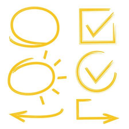 garabatos: Marca de verificación amarilla y marcador de círculo Vectores