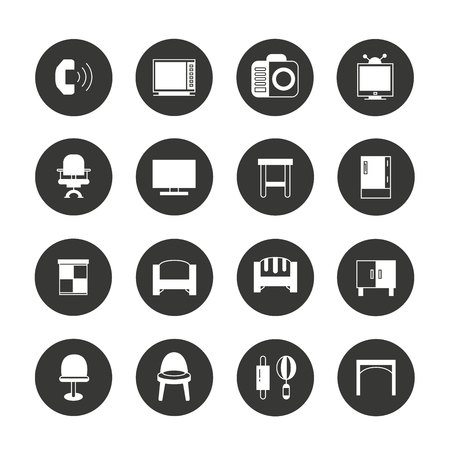 home furniture: furniture and home appliance icons Illustration
