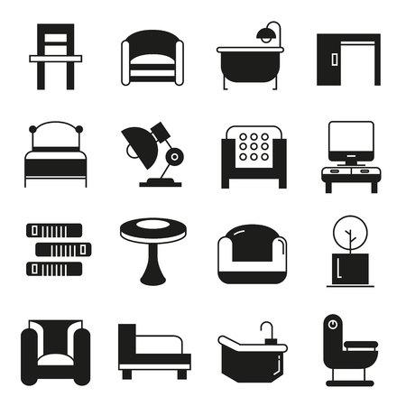 meubilair pictogrammen Vector Illustratie