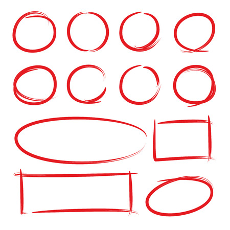 hand drawn circle and rectangle for marking text