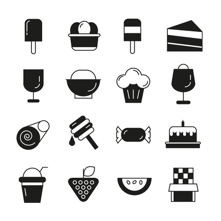 fruit cake: food and candy icons Illustration