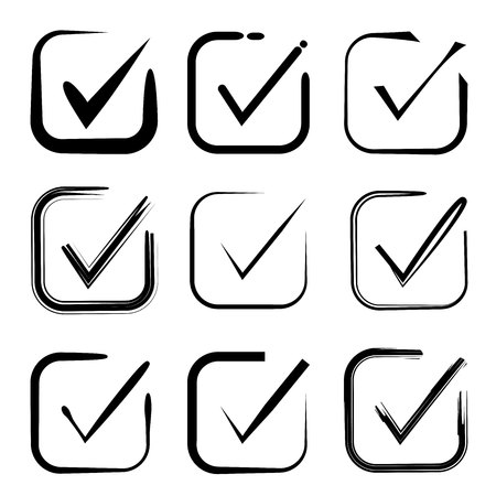 Set of hand drawn check mark, check box icons