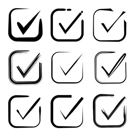 Set of hand drawn check mark, check box icons