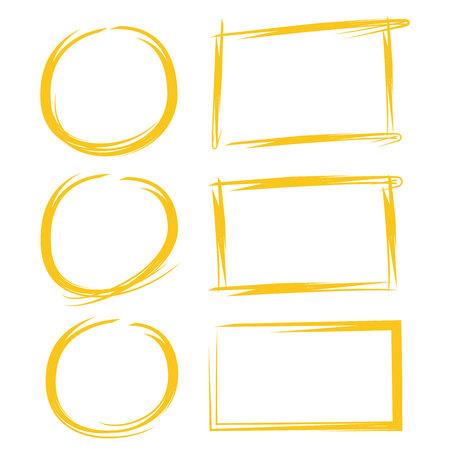 Cerchi gialli e marcatori rettangoli per contrassegnare il testo