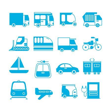 iconos de vehículos Ilustración de vector