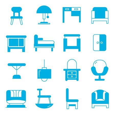 table decor: furniture icons Illustration