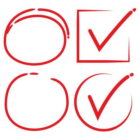 Rode hand getekende cirkelmarkering en vinkje