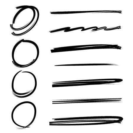 emphasis: black hand drawn circle marker and brushes Illustration