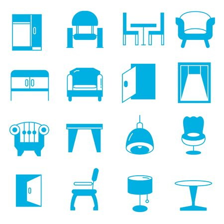 windows home: furniture icons Illustration