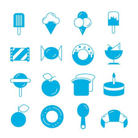 fruit cake: food icons set
