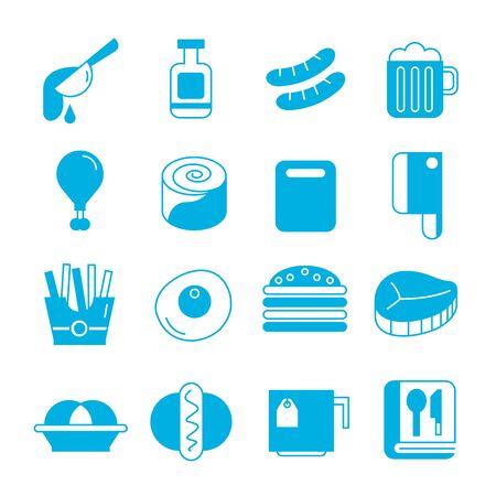 lager beer: food icons set