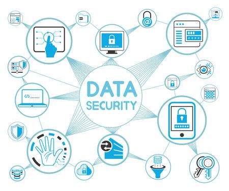 concepto de seguridad de datos, protección de datos Ilustración de vector