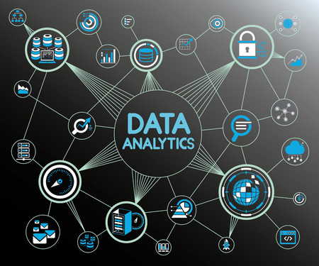 データ分析ネットワーク  イラスト・ベクター素材