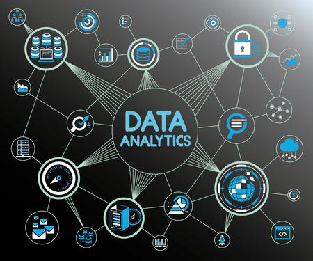Sieć analityki danych Ilustracje wektorowe