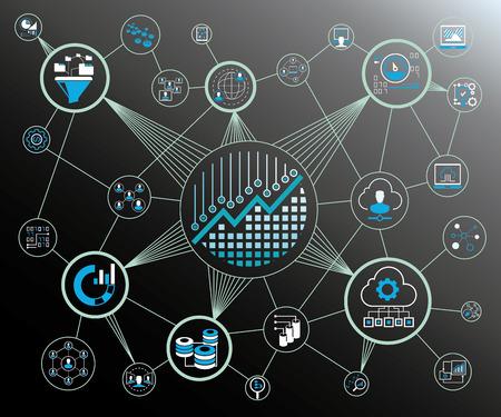 Koncepcja analizy danych i sieć Ilustracje wektorowe