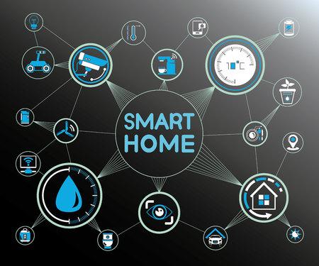 Concetto di home and home automation intelligente. Archivio Fotografico - 74438441