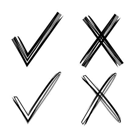 right choice: check mark and wrong mark Illustration