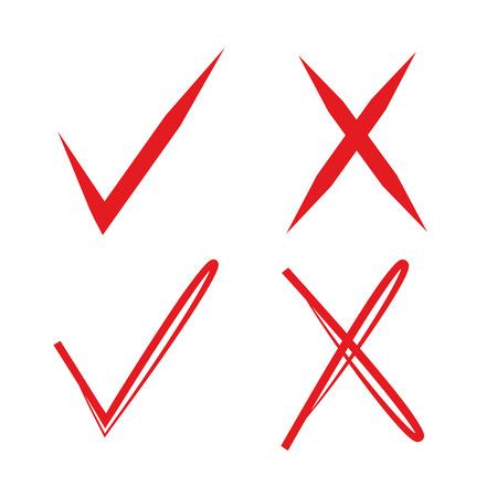 incorrect: red check mark and wrong mark