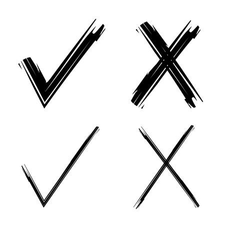 incorrect: check mark and wrong mark Illustration