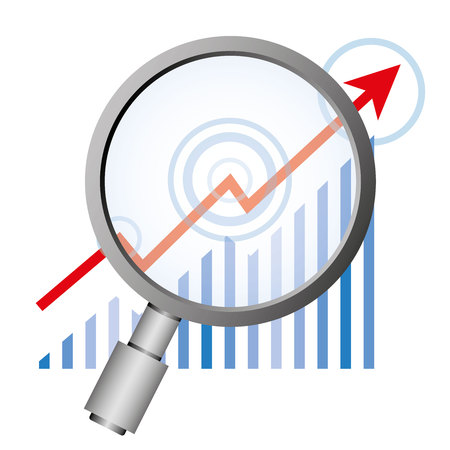 informatics: magnifier and graph for data forecasting and data analytics concept Illustration