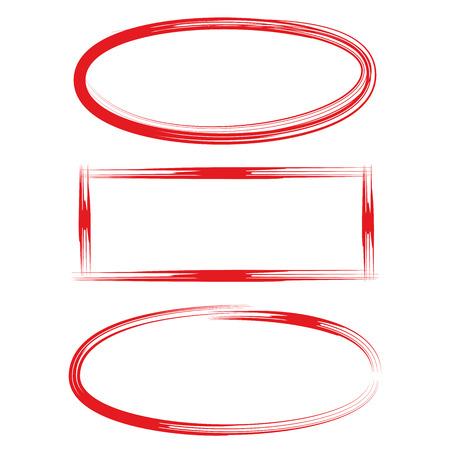 손으로 그려진 빈 원과 직사각형 스톡 콘텐츠 - 75259857