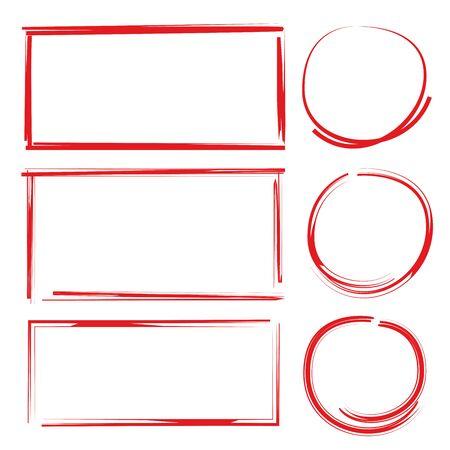red grunge circle and rectangle set Illusztráció