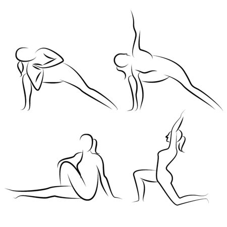 flexible woman: yoga postures Illustration