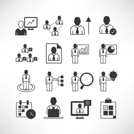 affairs: business management icons Illustration
