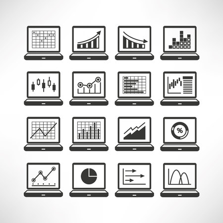 estimate: data graph in laptop icons Illustration