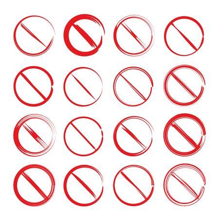 red hand drawn ban symbol set, not allowed symbols Ilustração