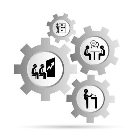 Bedrijfs management concept in versnellingsschema