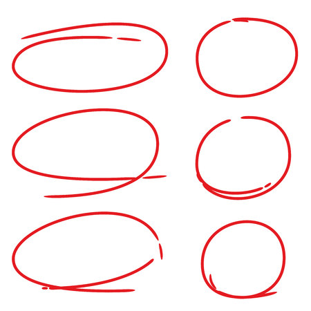 red markers, red circles