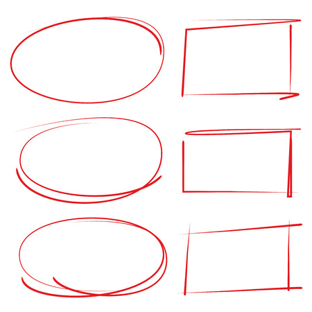 emphasis: red hand drawn circle and rectangle frame for highlighting text