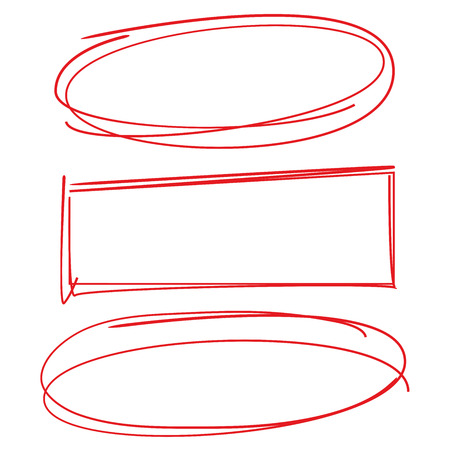 red hand drawn circle and rectangle frame for highlighting text