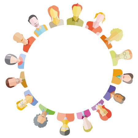 social gathering: people around circle form and blank in center for text