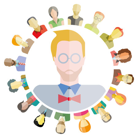 group network: people network and community, group of people around circle form, modern society