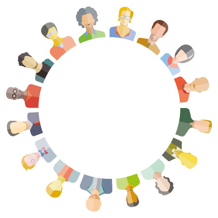 social gathering: Group of people around circle and blank in center for text or your topic.