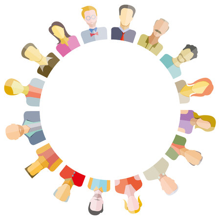 on top of the world: Group of people around circle and blank in center for text or your topic.