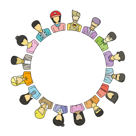 woman looking up: Group of people around circle and blank in center for text or your topic.