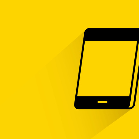 mobile cellular: Smartphone with shadow on yellow background.