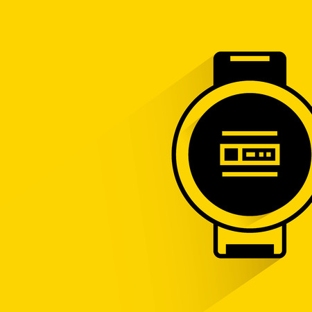smart: Smart watch with shadow on yellow background. Illustration