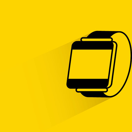 media gadget: Smart watch  with shadow on yellow background.