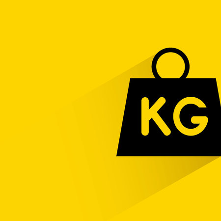 Weight with shadow on yellow background.