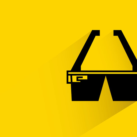 Smart glass with shadow on yellow background. Illustration