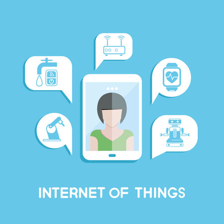 internet phone: Woman in smart phone and internet of things icons in message Illustration