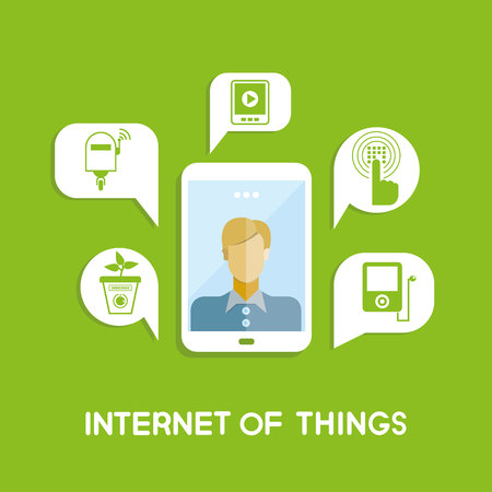 internet phone: People in smart phone and internet of things icons in message