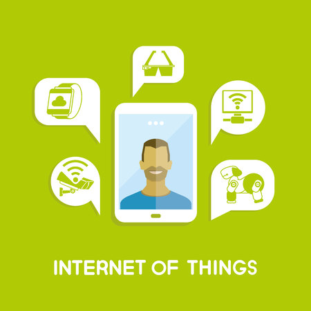 smart: A man in smart phone and internet of things icons in message