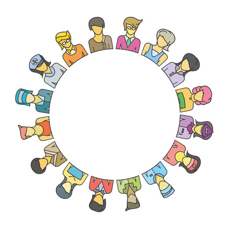 Group of people around circle and blank in center for text or your topic.